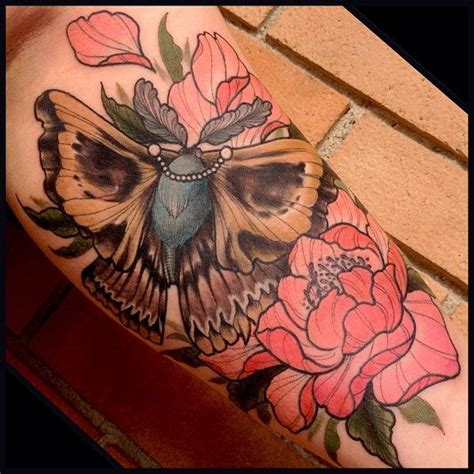 skull butterfly rose tattoo moth images designs