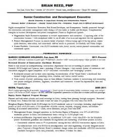 resume samples project management pmp construction