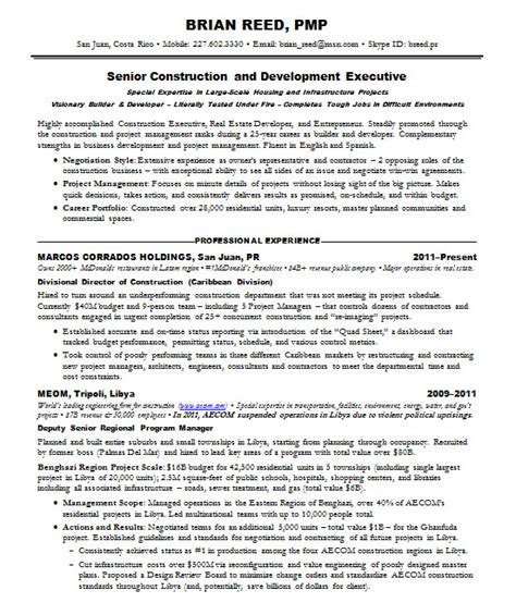 pmp resume exles resume sles project management pmp construction