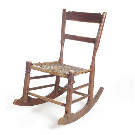 Childs Chair - antique vintage primitive wooden child s rocking chair