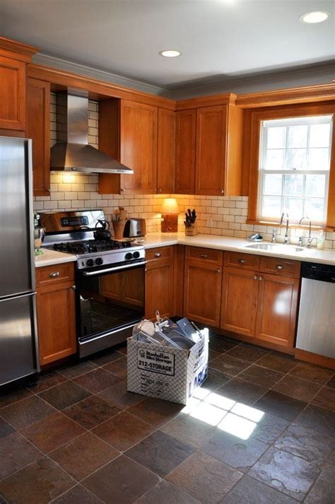 Flooring And Kitchen Cabinets For Less Summer Update The Living With Less Project Oak Cabinets Tiles And Subway Tile