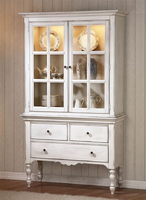 Homelegance Hollyhock China Cabinet   Distressed White/Oak
