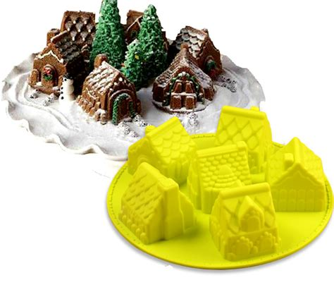 Silicone Baking House 3d mini houses cake mold gingerbread houses silicone cake