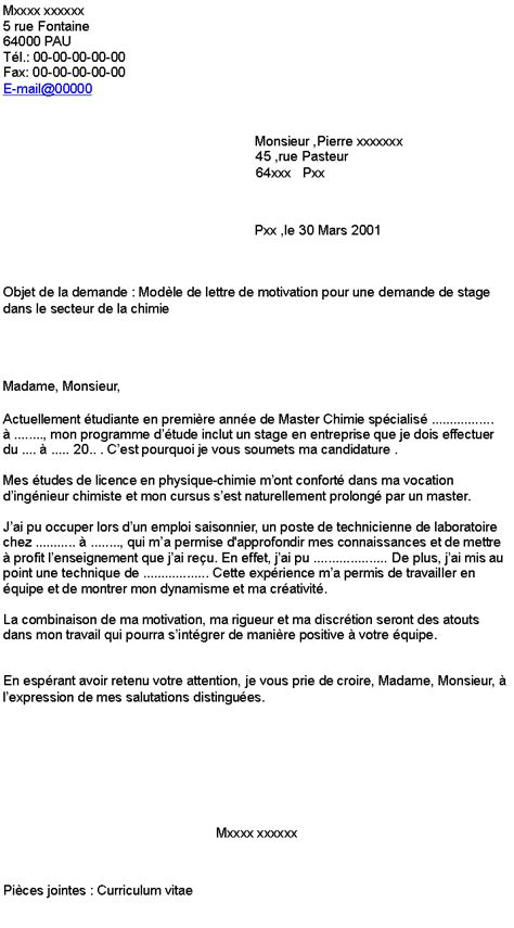 Exemple De Lettre De Motivation Pour Stage En Finance Modele Lettre De Motivation Pour Stage En Entreprise