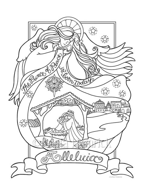 Angel Nativity Coloring Page In Three Sizes 8 5x11 8x10 Coloring Pages 8 1 2 X 11