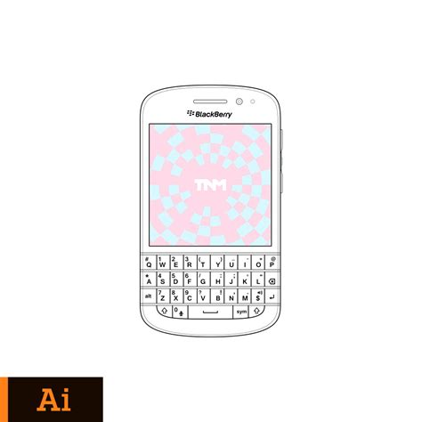 vector mockup illustrator template for blackberry q10