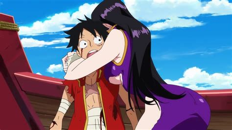film one piece 3d2y wiki image one piece 3d2y hancock hugging luffy png