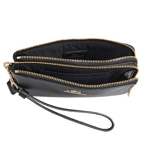 Coach Wristlet 2zip Black coach corner zip in black lyst