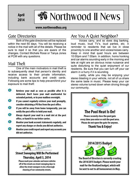 Hoa Newsletter Templates Hunecompany Com Hoa Community Newsletter Templates