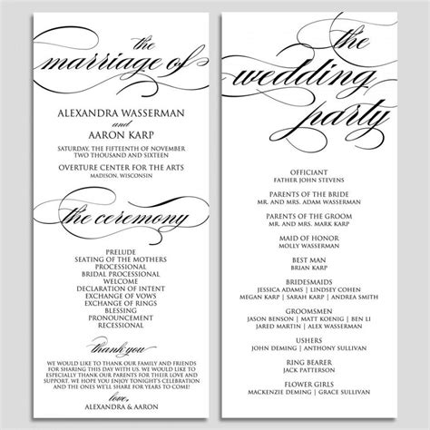 template for wedding ceremony program wedding program template wedding program printable