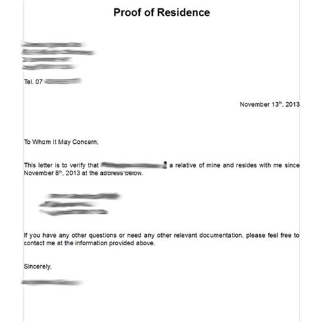 Proof Residency Letter Template Proof Of Residency Letter Template Musicaemstock Proof Of