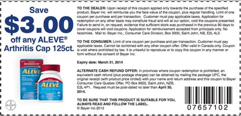 printable pers coupons canada 2014 aleve bayer canada coupons save 3 00 on any aleve