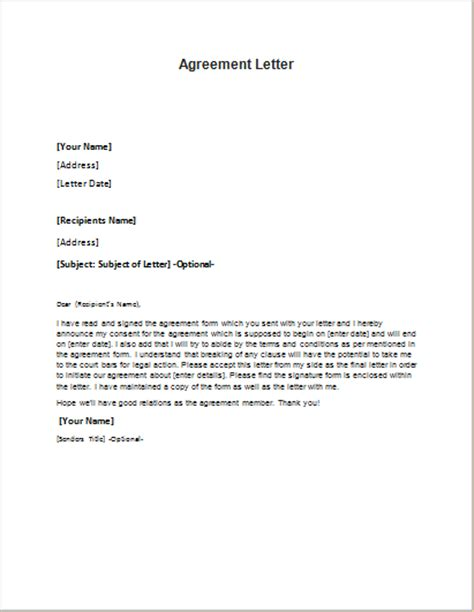 Agreement Letter Exle Agreement Letter Template For Word Word Excel Templates