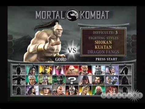 mortal kombat all soundtrack of select character youtube