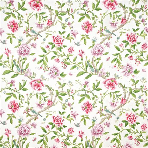 porcelain garden fabric magenta leaf green dcavpo206 sanderson caverley fabrics collection