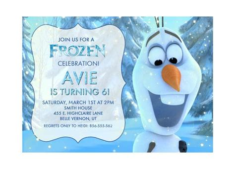 Francis Goble Also Search For Disney Frozen Printable Birthday Invitation Olaf