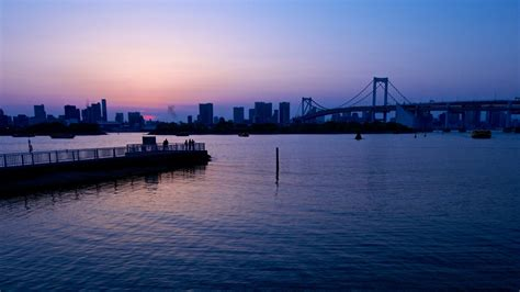 wallpaper japan sunset sea cityscape bay reflection