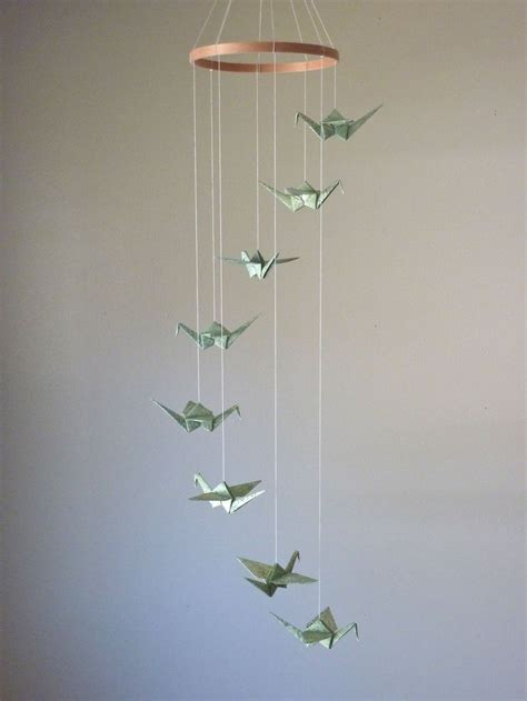 origami mobile origami crane mobile children decor baby mobile eco
