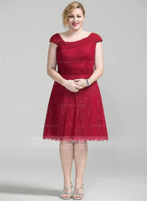 A Line/Princess Knee Length Chiffon Lace Mother of the