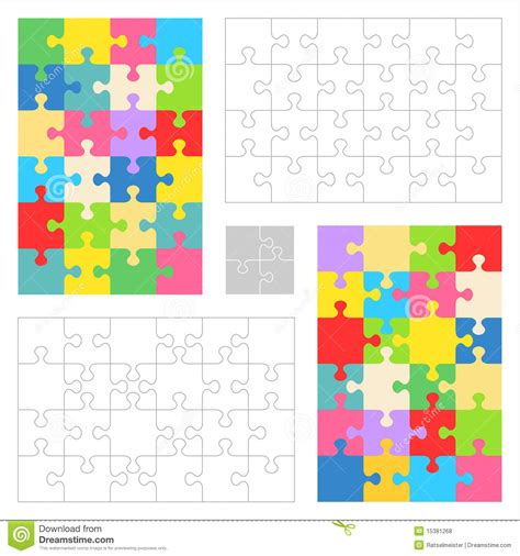jigsaw puzzle blank templates colorful patterns royalty