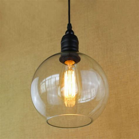 Hanging Kitchen Pendant Lights Antique Copper Hanging Clear Glass Shade Pendant L With Edison Light Bulb Kitchen Lights And