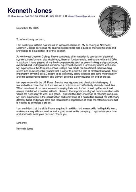 Lineman Apprentice Cover Letter by Cover Letter Nlc