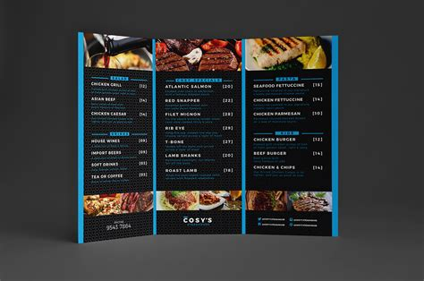 tri fold menu template photoshop cosy restaurant menu template pack brandpacks