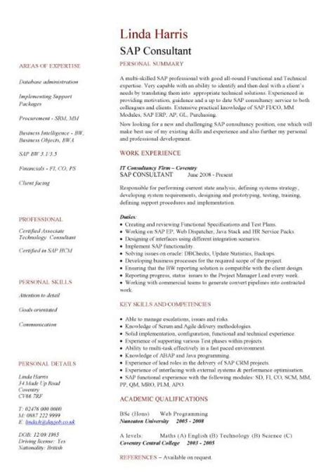 Sap Specialist Sle Resume by Sap Cv Sle Sap Resume Writing A Curriculum Vitae Cv Exle