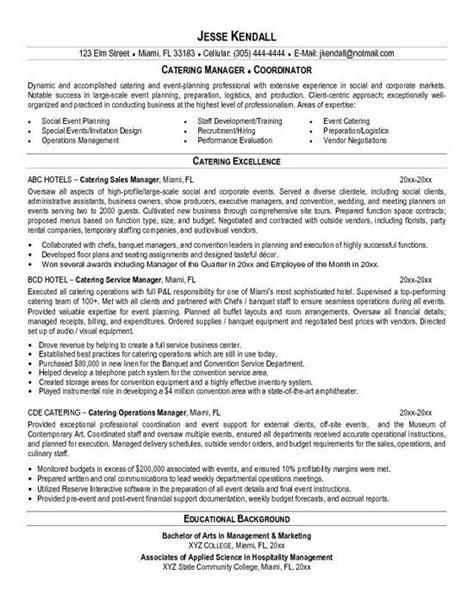 catering resume exle resume exles catering and resume