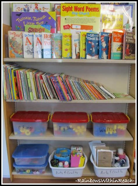 home preschool organization of bookshelf