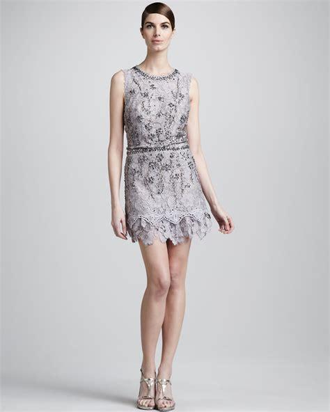 gray beaded dress lyst mandalay beaded lace dress in gray
