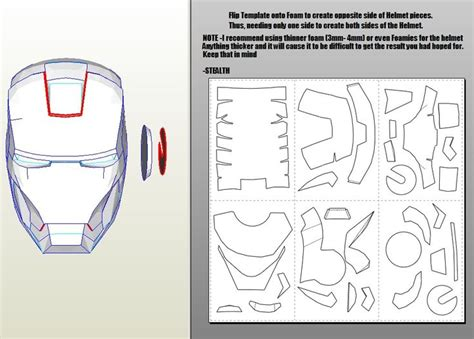 Ironman Helmet Papercraft - iron 4 6 pepakura foam templates tutorial