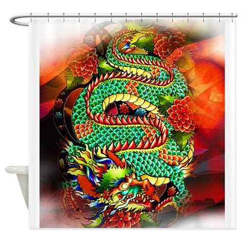 tattoo queen shower curtain tattoo oriental dragon shower curtain by aintwegotfun