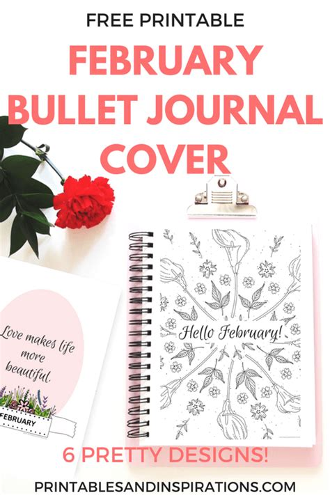 printable calendar cover page free printable february bullet journal cover page and