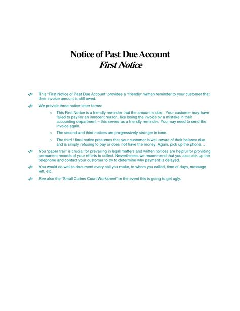 late rent past due rent notice template word templates ready
