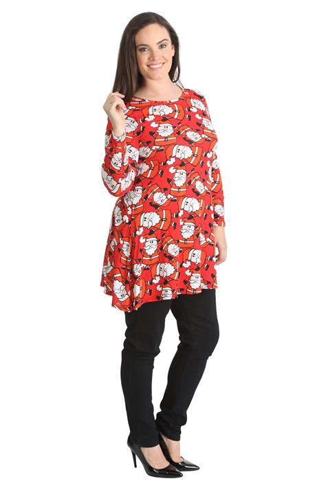 new womens top ladies plus size swing style dress santa