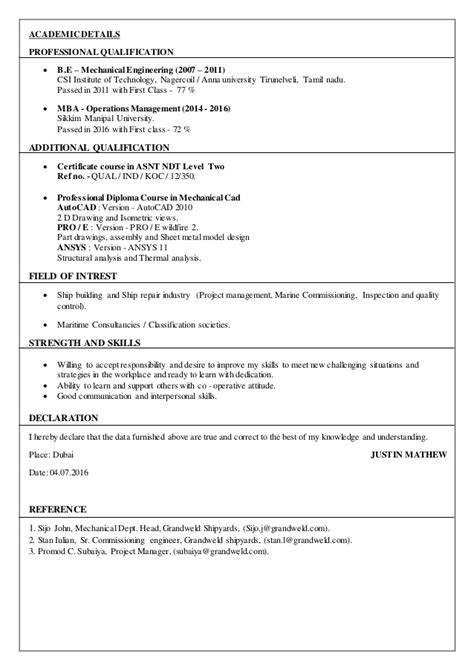 Commissioning Engineer Sle Resume by Resume Justin Mathew Mechanical Test Trails Commissioning Engin