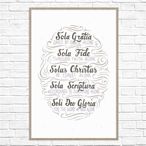5 Solas Coloring Page by The Five Solas Handlettered Poster Print Missional Wear