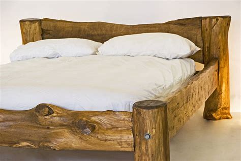 rustic wood beds rustic hand crafted king size wooden bed by kwetu