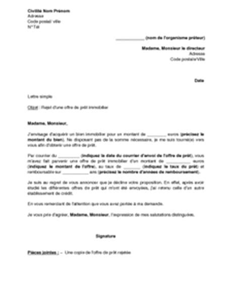 Exemple De Lettre Offre D Achat Immobilier Exemple Gratuit De Lettre Rejet Une Offre Pr 234 T Immobilier