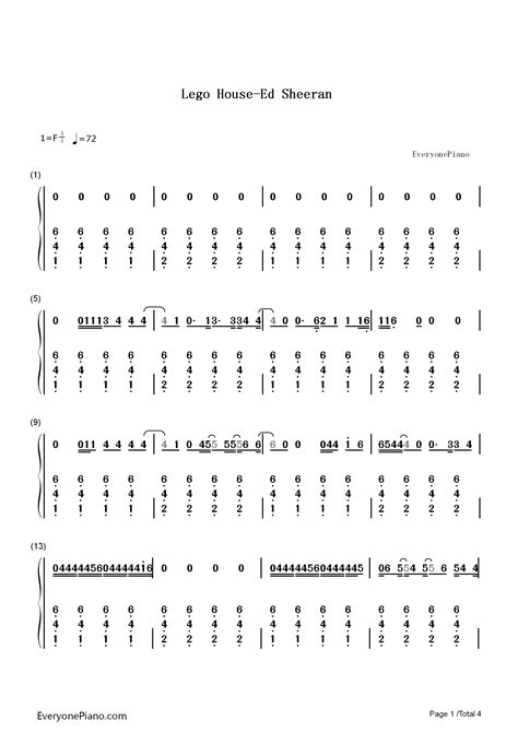 house music chords lego house ed sheeran numbered musical notation preview 1 free piano sheet music