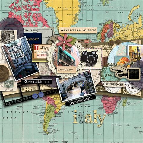 scrapbook layout idea books 3 photos ephemera travel scrapbooking pinterest