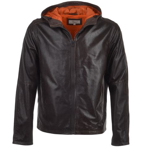 hooded leather jacket mens mens lightweight perforated hooded leather jacket brown