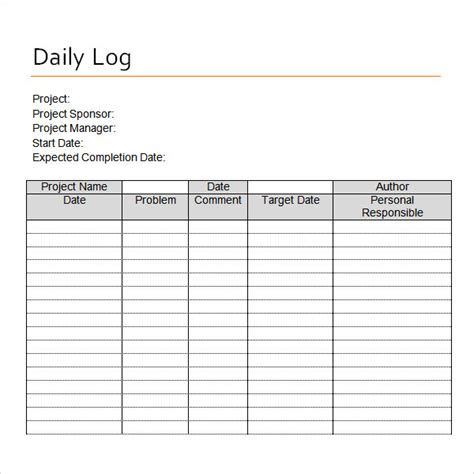 nanny daily log template sle daily log template 15 free documents in pdf word