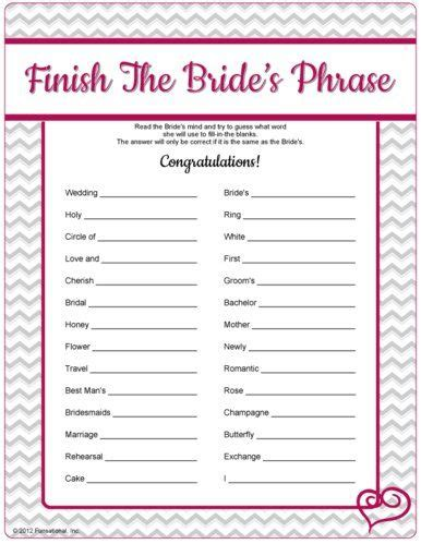 free printable bridal shower games party invitations ideas