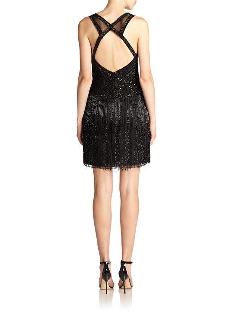 beaded black dress basix black label beaded fringe dress in black lyst