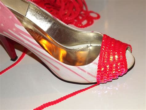 diy sequin shoes my pencil skirt diy neon coral sequin shoes