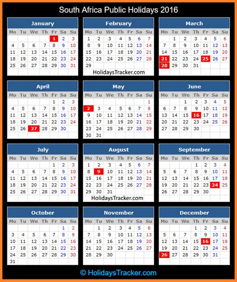South African School Terms And Public Holidays 2016 | south africa public holidays 2016 holidays tracker
