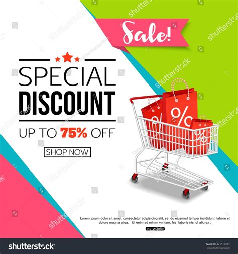 template flyer store special discount template sale banner poster stock vector