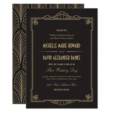 art deco style wedding invitation zazzle com